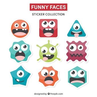 Colección de pegatinas de caras divertidas
