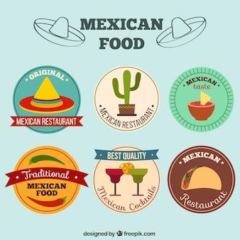 Colección de pegatinas de comida mexicana