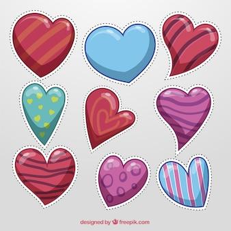 Colección de pegatinas de corazones en diseño abstracto
