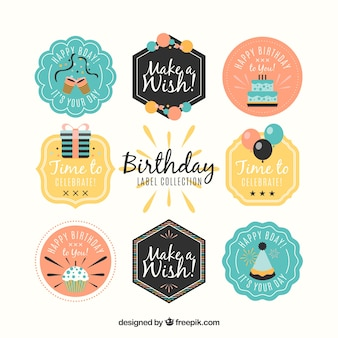 Colección de pegatinas de cumpleaños en diseño retro