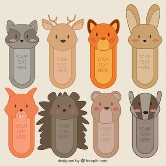 Colección de pegatinas de dibujos de adorables animales