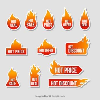 Colección de pegatinas de fuego de ofertas