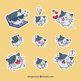 Colección de pegatinas de gato dibujado a mano