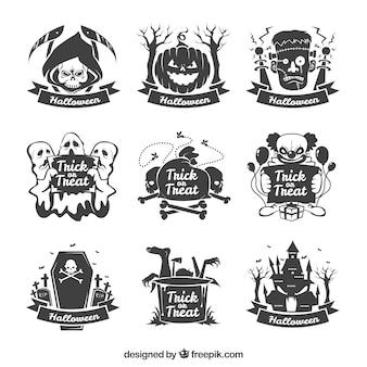 Colección de pegatinas de halloween dibujadas a mano
