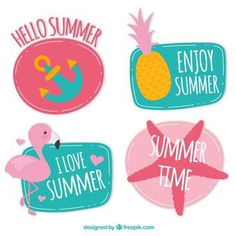 Colección de pegatinas de hola verano