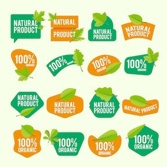 Colección de pegatinas de productos naturales
