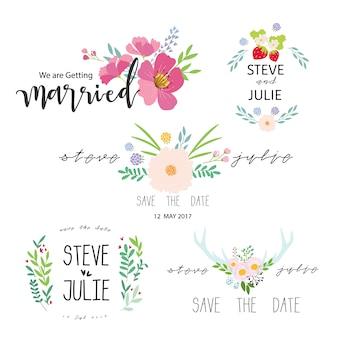 Colección de pegatinas de recien casados