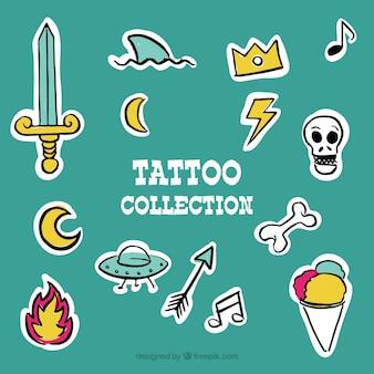 Colección de pegatinas de tatuajes dibujadas a mano