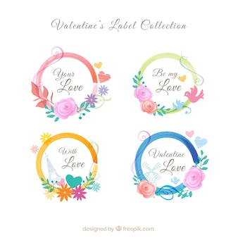 Colección de pegatinas de valentín pintadas a mano