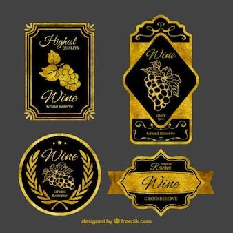 Colección de pegatinas de vino doradas vintage