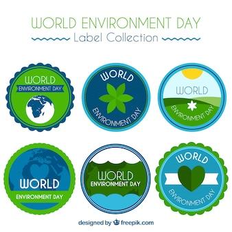 Colección de pegatinas del día mundial del medioambiente con forma redonda