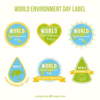 Colección de pegatinas del día mundial del medioambiente con formas diferentes