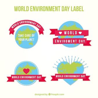 Colección de pegatinas del día mundial del medioambiente con lazos rosas