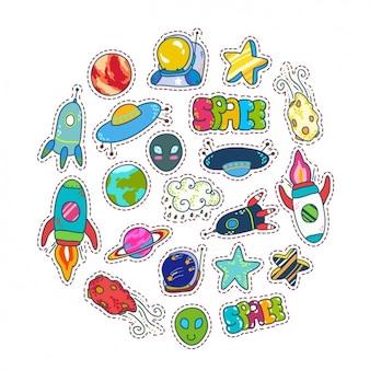 Colección de pegatinas del espacio