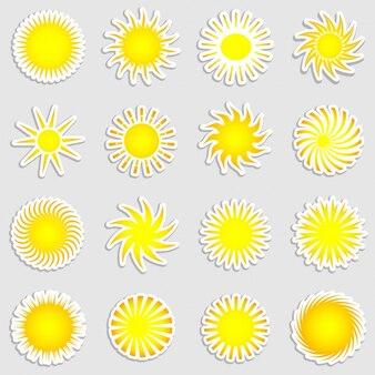 Colección de pegatinas del sol