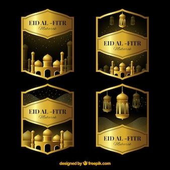 Colección de pegatinas doradas de eid al-fitr