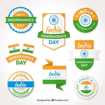 Colección de pegatinas e insignias del día de la independencia de india