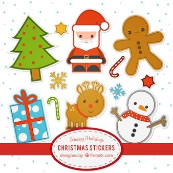 Colección de pegatinas planas de navidad