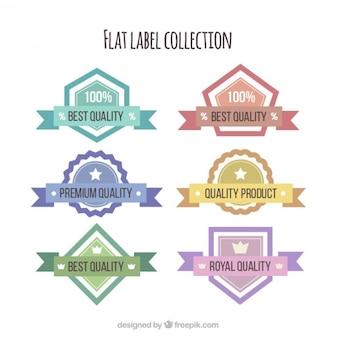 Colección de pegatinas planas de productos de calidad