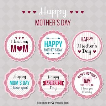 Colección de pegatinas redondas del día de la madre