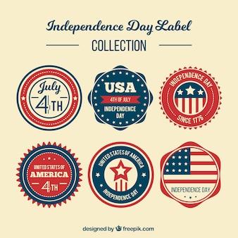 Colección de pegatinas redondas retro del día de la independencia americana