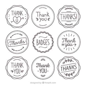 Colección de pegatinas retro de agradecimiento dibujadas a mano