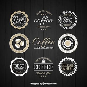 Colección de pegatinas retro de café ornamentales