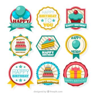 Colección de pegatinas retro de cumpleaños en diseño plano