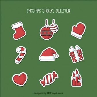 Colección de pegatinas rojas de navidad