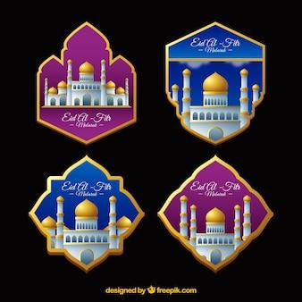 Colección de pegatinas rosas y azules de eid al-fitr