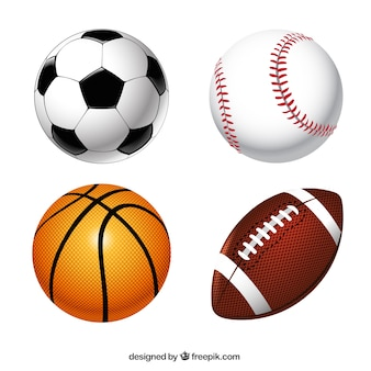 Colección de pelotas de deporte