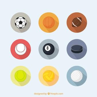 Colección de pelotas deportivas en diseño plano