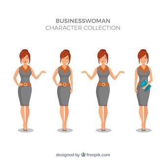 Colección de personaje de mujer de negocio expresiva
