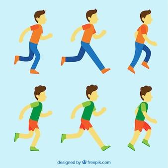 Colección de personajes corriendo