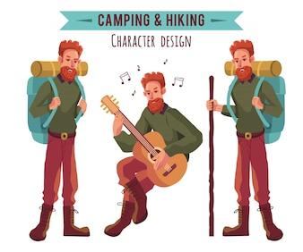 Colección de personajes de camping