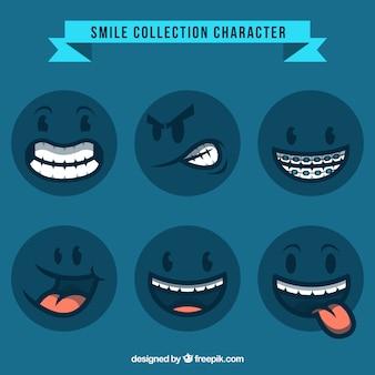 Colección de personajes de emoticonos azules