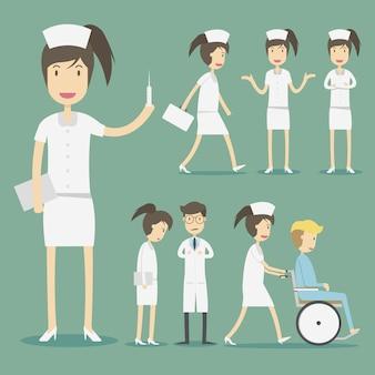 Colección de personajes de enfermeras