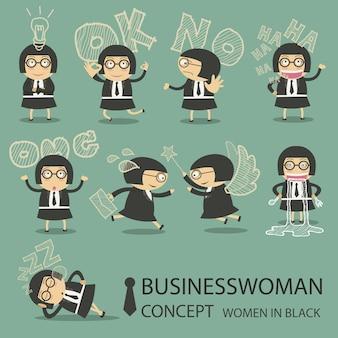Colección de personajes de mujer de negocios