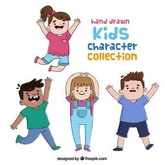 Colección de personajes de niños divertidos