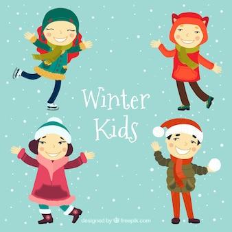Colección de personajes de niños invernales