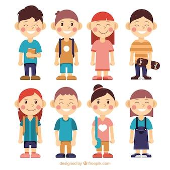 Colección de personajes de niños listos para el colegio