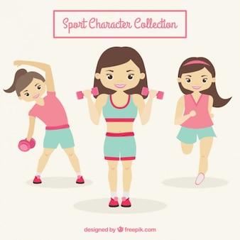 Colección de personajes deportivos femeninos