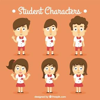 Colección de personajes estudiantes naranja