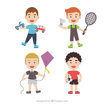 Colección de personajes infantiles con diferentes juguetes