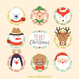 Colección de personajes navideño lindos