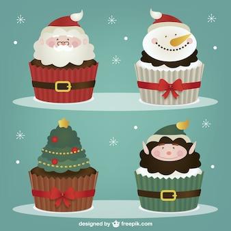 Colección de personajes pasteles de navidad