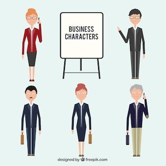 Colección de personajes planos de negocios