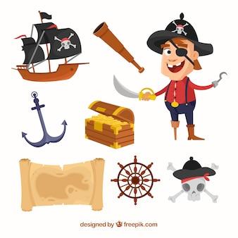 Colección de pirata con elementos