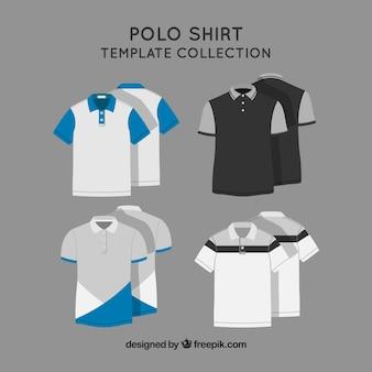 Colección de plantillas de camiseta polo con dos colores