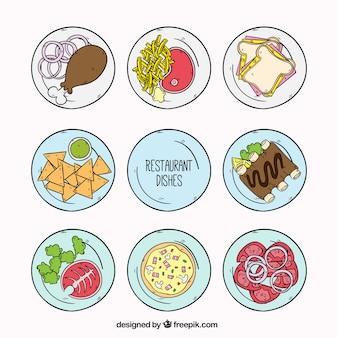 Colección de platos de restaurante, dibujados a mano